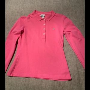 Lacoste fitted long sleeve pink polo shirt